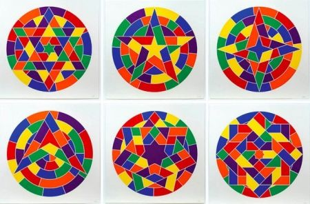Linocut Lewitt - Tondo Stars Set of 6