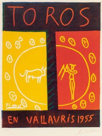 Linocut Picasso - Toros en Vallauris (Bulls in Vallauris ),1955
