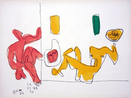 Lithograph Le Corbusier - Touching Their Feet