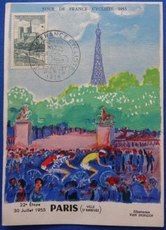 Lithograph Van Dongen - Tour de France 1955