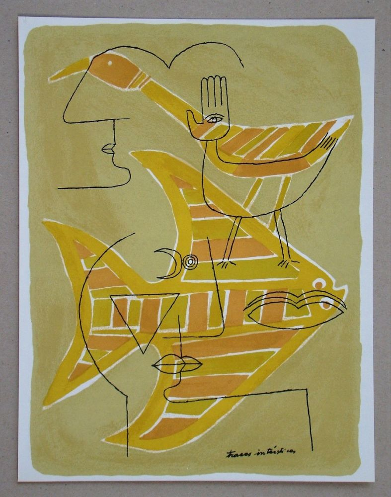 Lithograph Brauner - Traces interstices