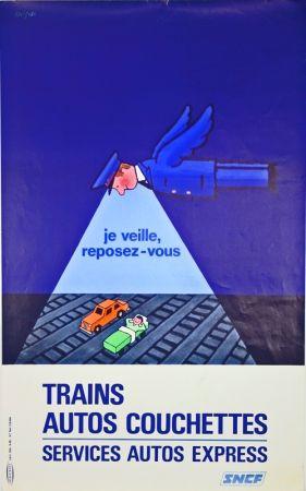 Lithograph Savignac - Trains Autos Couchettes