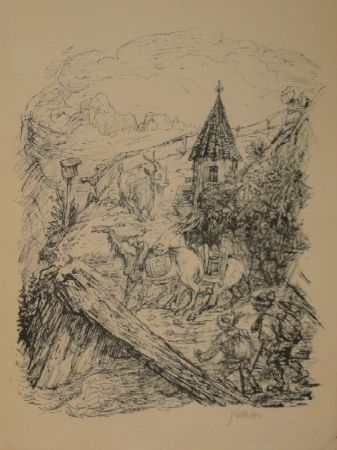 Lithograph Kubin - Transport im Gebirge