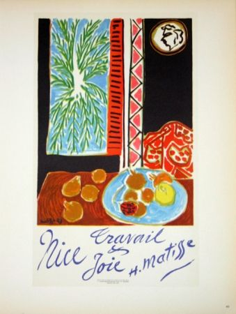 Lithograph Matisse - Travail et Joie  Nice 1948