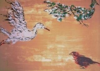 Lithograph Tian-Tian - Treasure birds 1