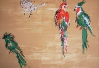 Lithograph Tian-Tian - Treasure birds 2