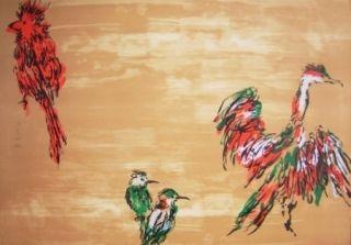 Lithograph Tian-Tian - Treasure birds 3