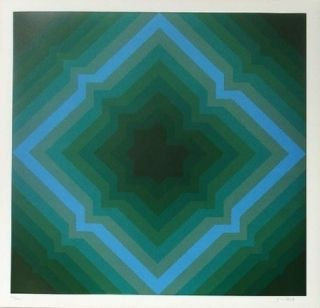 Lithograph Bird - Tribute to vasarely