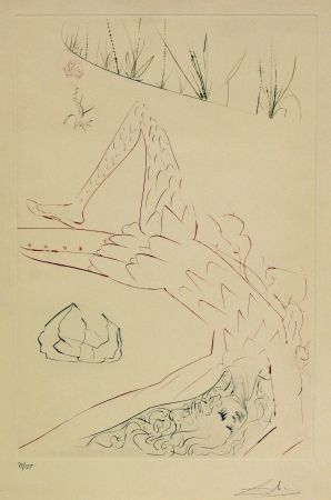 Etching And Aquatint Dali - Tristan et Iseult - Wounded
