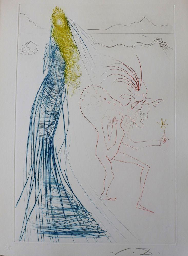 Etching Dali - Tristan et Iseult : Frocin, le mauvais nain