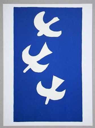 Lithograph Braque (After) - Troi oiseaux