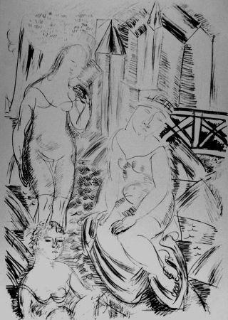 Lithograph Dufy - Trois baigneuses devant le port de Sainte-Adresse