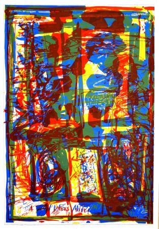 Lithograph Huftier - Trois couleurs sous verre