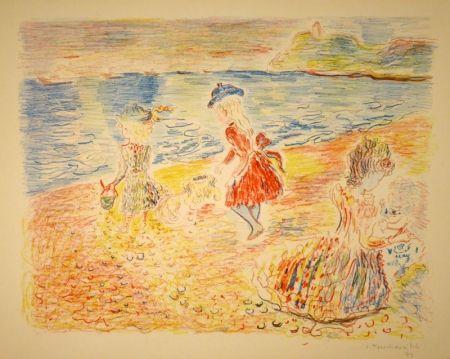 Lithograph Terechkovich - Trois enfants sur une plage / Drei spielende Mädchen am Strand