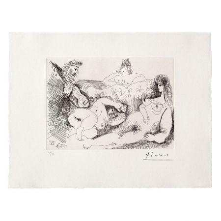 Etching And Aquatint Picasso - Trois Femmes nues écoutant un joueur de guitare