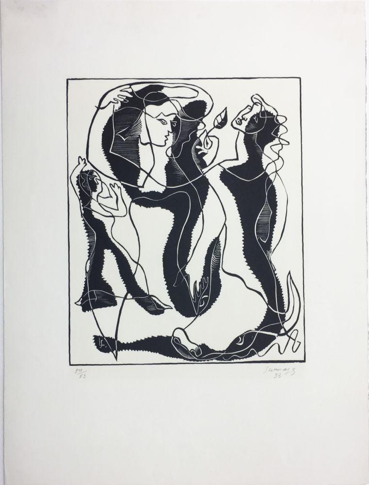 Woodcut Survage - Trois Femmes (Paris, 1933)