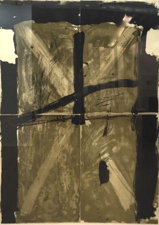 Lithograph Tàpies - Trois Gris Et Marron