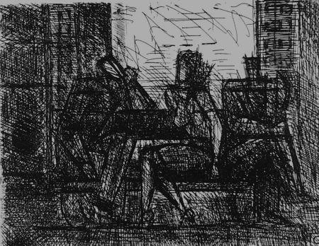 Engraving Gromaire - Trois personnages sur un banc