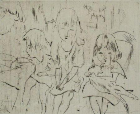 Drypoint Pascin - Trois petites filles