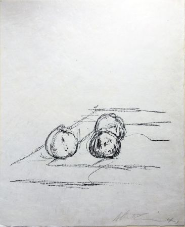 Lithograph Giacometti - TROIS POMMES (Three apples). 1961. Lithographie signée.