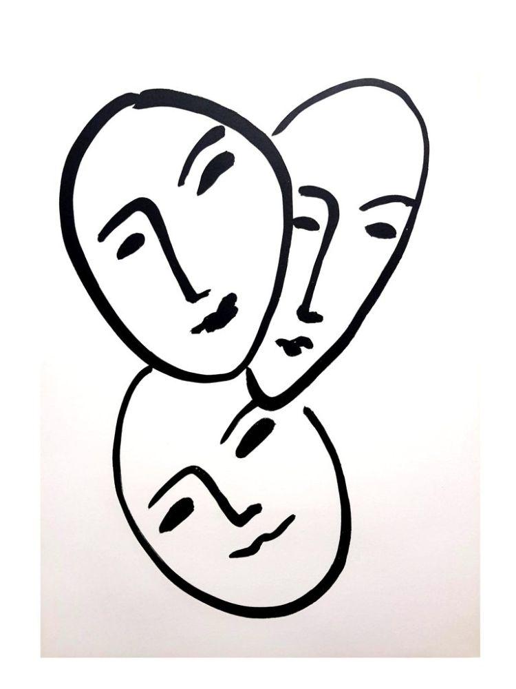 Lithograph Matisse - Trois Visages