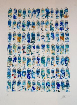Aquatint Arman - Tubes Bleus