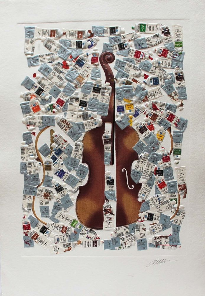Etching Arman - Tubes et violin
