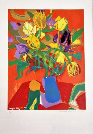 Lithograph Bezombes - Tulipes