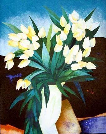 Lithograph Gaveau - Tulips