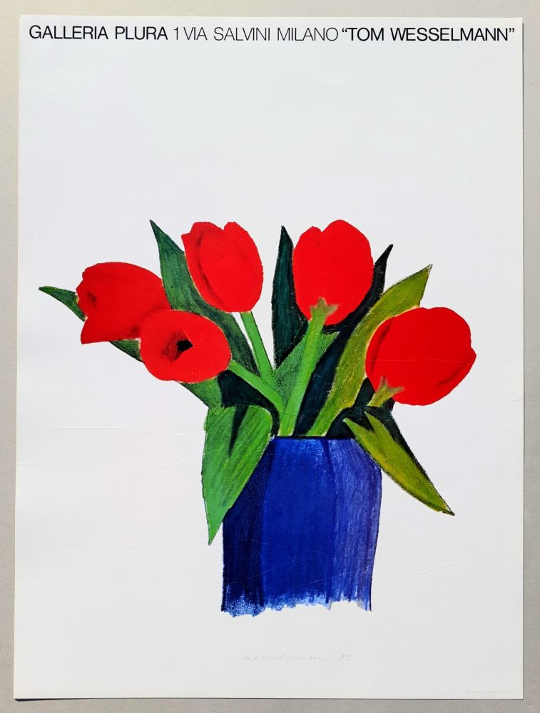 Lithograph Wesselmann - Tulips in a vase