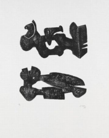 Lithograph Moore - Two black forms