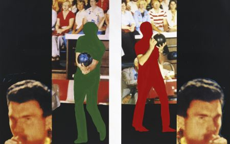 Lithograph Baldessari - Two bowlers (with questioning person)