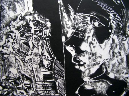 Aquatint Picasso - TWO BUSTS (WHITE LINE)