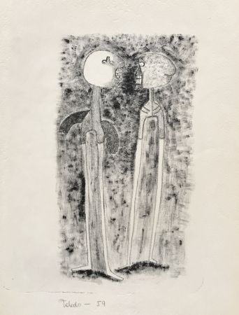 Lithograph Toledo - Two Figures