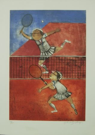 Lithograph Boulanger - TWO GIRLS PLAYING TENNIS