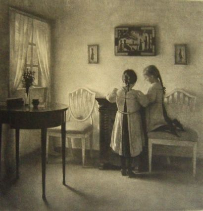 Mezzotint Ilsted - Two little girls playing.
