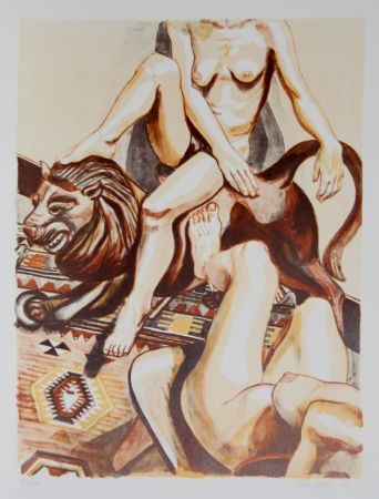 Lithograph Pearlstein - Two Nude Women