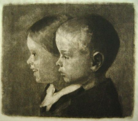 Mezzotint Ilsted - Two of the children of the artist