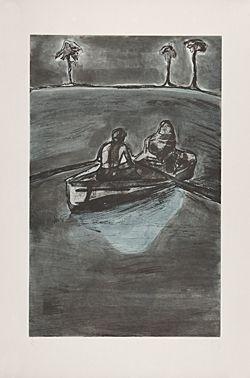 Engraving Doig - Two People at Night (indigo)