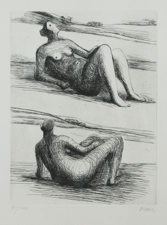 Etching And Aquatint Moore - Two Reading Figures