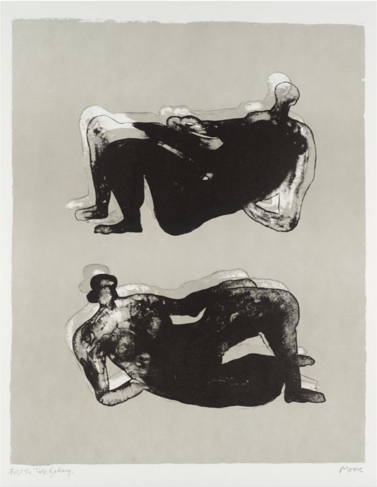 Lithograph Moore - Two Reclining Figures