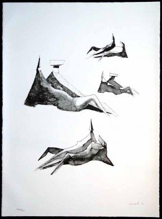 Lithograph Chadwick - Two sitting figures III