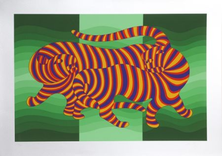 Screenprint Vasarely - Two Tigers on Green