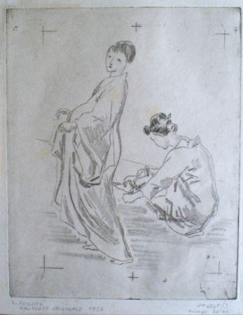 Etching Foujita - Two woman