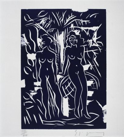 Linocut Szczesny - Two Women in Blue