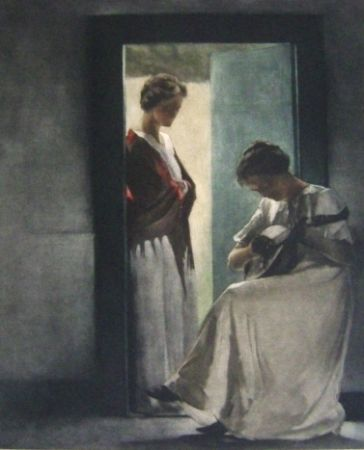 Mezzotint Ilsted - Two Young Women In A Doorway