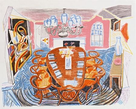 Lithograph Hockney - Tyler Dining Room