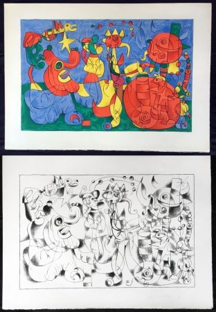 Lithograph Miró - UBU ROI : Suites en couleurs et en noir (26 lithographies à grandes marges) 1966.