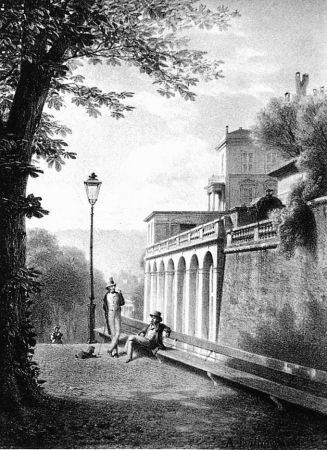 Lithograph Fontanesi - Un coin de la Treille