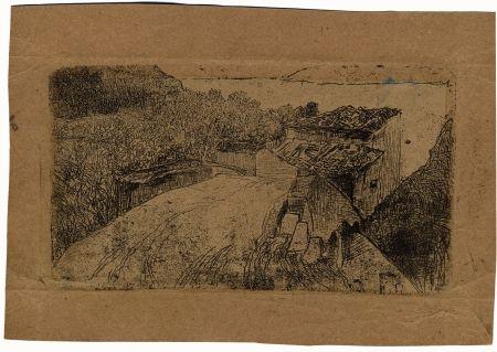 Etching Fattori - UN PONTE SULL'AFFRICO (A Bridge on the Affrico Torrent)